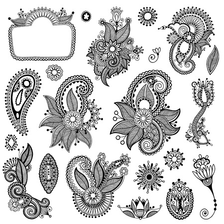 disegno cachemire: nero line art collezione di design ornato di fiori, stile etnico ucraino, AutoTrace di disegno a mano