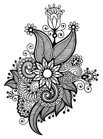 hindi: linea nera art design ornato di fiori, stile etnico ucraino, AutoTrace di disegno a mano