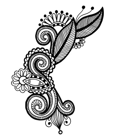 streckbilder: svart linje konst utsmyckade flower design, ukrainska etnisk stil, autotrace hand ritning Illustration