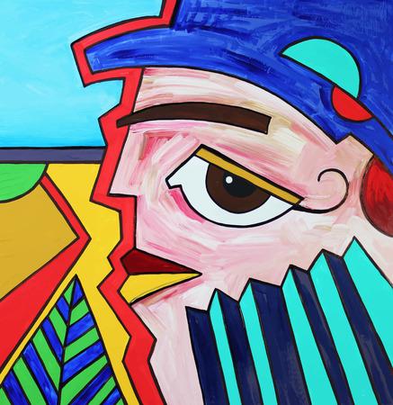 man face profile: Composici�n de la t�cnica inusual resumen original del perfil de la cara del hombre. Imagen Autotrace. Ilustraci�n del vector. Pintura acr�lica Vectores
