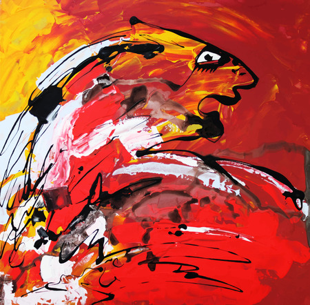 acrylic painting: Unusual original art composition of abstract tiger. Autotrace image. Vector illustration. Red and yellow acrylic painting