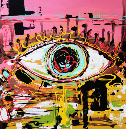Unusual original art abstract composition of human eye. Autotrace image. Vector illustration. Acrylic painting