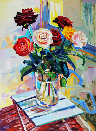 Unusual original art composition of roses bouquet flower. Autotrace image. Vector illustration. Oil painting on canvas Vector