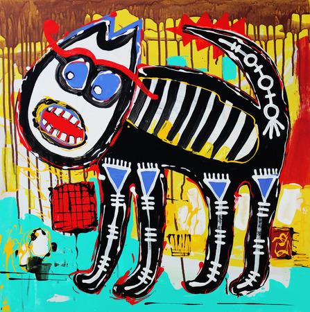 落書き怒っている猫のオリジナル アート組成は珍しい。Autotrace イメージ。ベクトル イラスト。アクリル画 写真素材 - 27417141