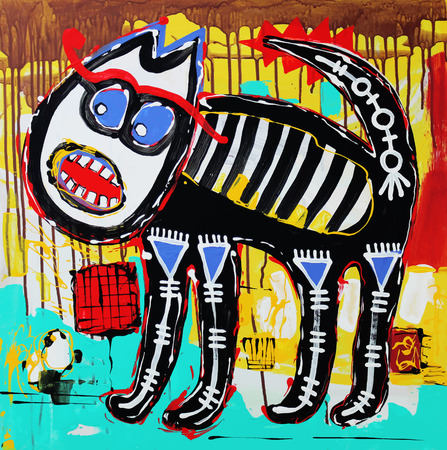 acrylic painting: Unusual original art composition of doodle angry cat. Autotrace image. Vector illustration. Acrylic painting