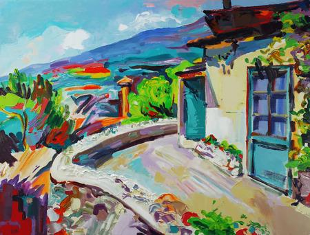 夏の風景のオリジナル アート組成は珍しい。Autotrace イメージ。ベクトル イラスト。キャンバスに油彩。現代印象派