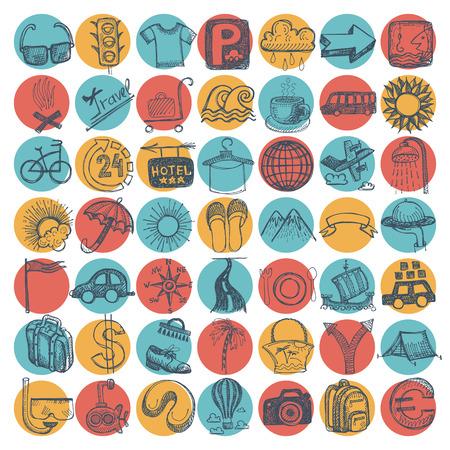 disegno a mano: 49 disegno a mano doodle di set di icone, tema del viaggio