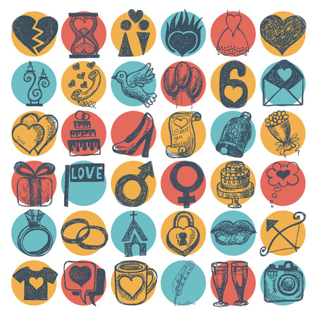 civil partnership: 36 hand drawing doodle icon set, wedding sketchy illustration