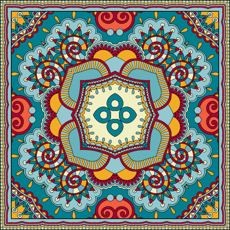 head wear: Traditional ornamental floral paisley bandanna. You can use this pattern in the design of carpet, shawl, pillow, cushion Illustration