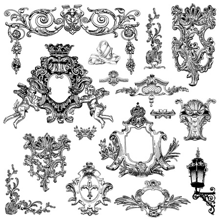 vector set: black and white vintage sketch calligraphic drawing of heraldic design element and page decoration, of Lviv historical building, Ukraine