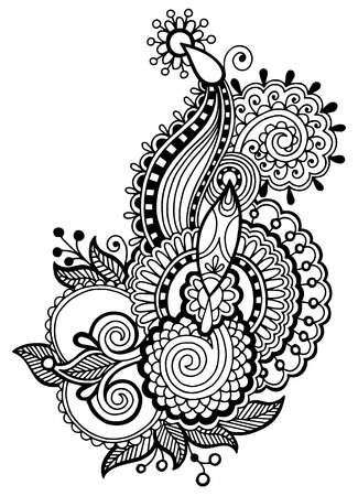 black line art ornate flower design collection, ukrainian ethnic style, autotrace of hand drawing Vector