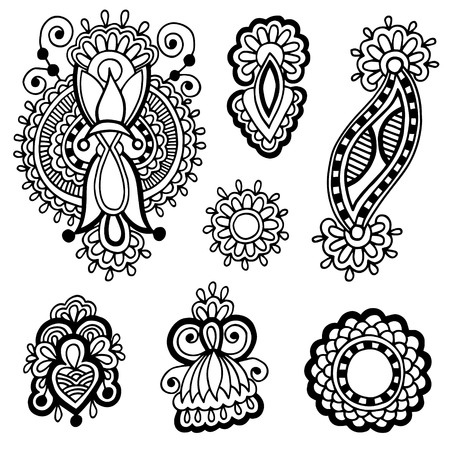 embellishment: black line art ornate flower design collection, ukrainian ethnic style, autotrace of hand drawing