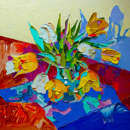 reflection of life: original oil painting, still life with tulip, spring flower.  Modern Impressionism Stock Photo