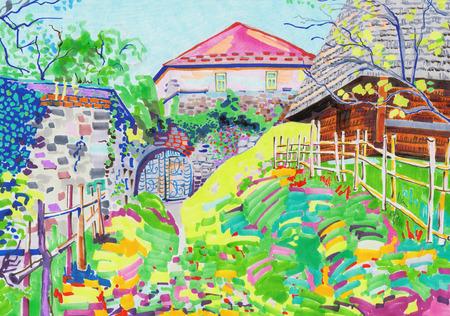 inhabituelle peinture marqueur original du paysage rural