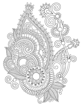 ukrainian: original digital draw line art ornate flower design. Ukrainian traditional style Illustration