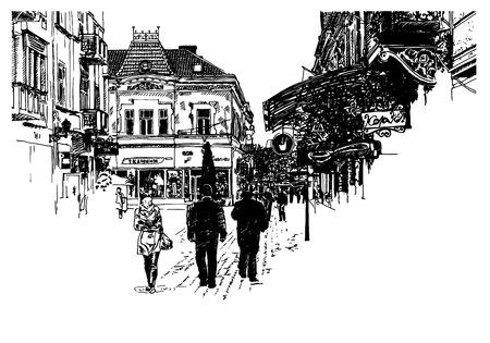 digital art: digital sketch vector black and white illustration of Uzhgorod cityscape, Ukraine