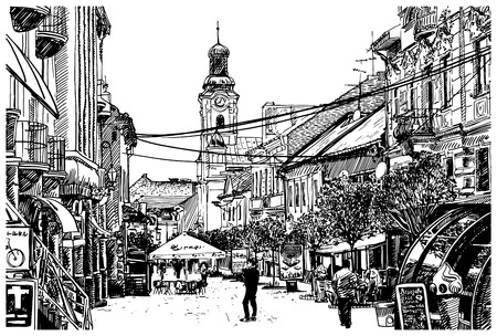 building sketch: digital sketch vector black and white illustration of Uzhgorod cityscape, Ukraine