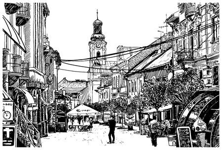 vecteur de croquis numérique illustration en noir et blanc de Uzhgorod paysage urbain, Ukraine