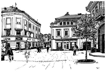 ウージュホロド都市景観、ウクライナの黒と白のベクトル図はデジタル スケッチ  イラスト・ベクター素材