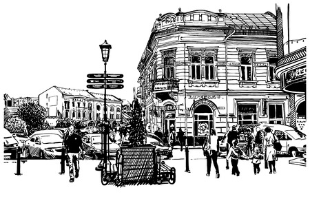 digital sketch vector black and white illustration of Uzhgorod cityscape, Ukraine Stok Fotoğraf - 29241715