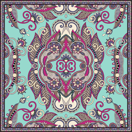 kerchief: Traditional ornamental floral paisley bandanna. You can use this pattern in the design of carpet, shawl, pillow, cushion Illustration