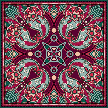 bandanna: Traditional ornamental floral paisley bandanna. You can use this pattern in the design of carpet, shawl, pillow, cushion Illustration