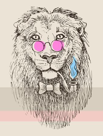 ピンクのメガネで流行に敏感なライオン煙る管のアートワーク描画動物の肖像画をスケッチします。  イラスト・ベクター素材