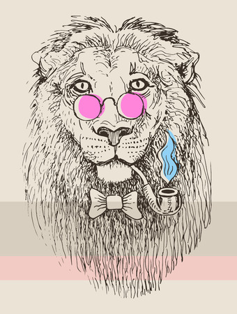 artwork of hipster lion smoking tube in pink glasses, sketch drawing animal portrait  Vector