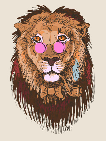 artwork of hipster lion smoking tube in pink glasses, sketch drawing animal portrait