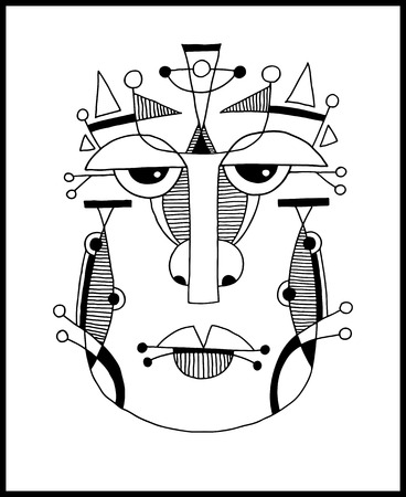 unusual hand draw illustration with a male face portrait in flat geometric style