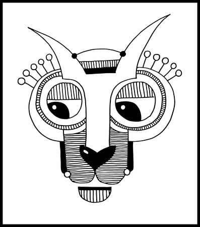 animal heads: unusual hand draw illustration with a head of hare or rabbit face portrait in flat geometric style
