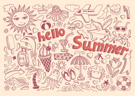 set of sketch design element summer theme with lettering Hello Summer Vector