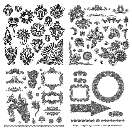 hindi: black line art ornate flower design collection, ukrainian ethnic style Illustration