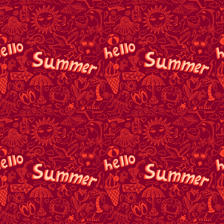 seamless pattern with sketch drawing summer vacation element and lettering Hello Summer, vector illustration Vector