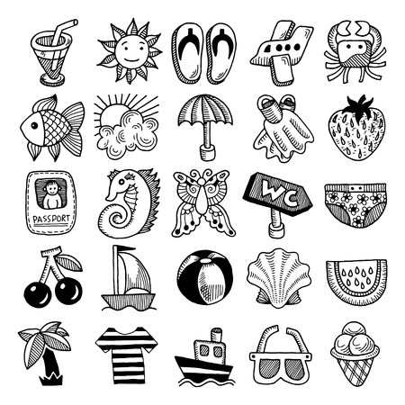 25 sketch icon set of summer theme, vector illustration Vector