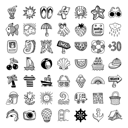 49 sketch icon set of summer theme, vector illustration Vector
