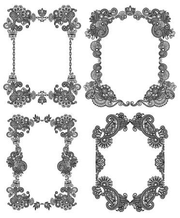 illustration line art:  Vector set of calligraphic design vintage frame, black line art ornate flower design, page decoration, antique and baroque style
