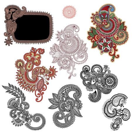 line art ornate flower design collection, ukrainian ethnic style Vector