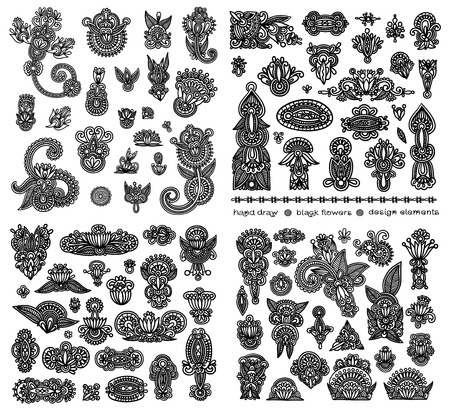 black line art ornate flower design collection, ukrainian ethnic style Vector