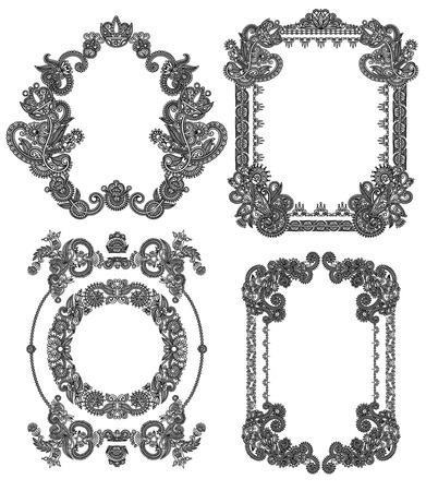 black line art ornate flower design vintage frame collection, ukrainian ethnic style Vector