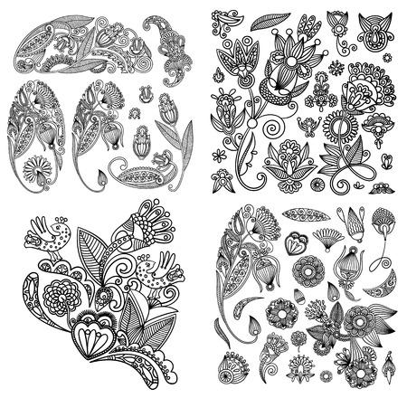 black line art ornate flower design collection, ukrainian ethnic style Illustration