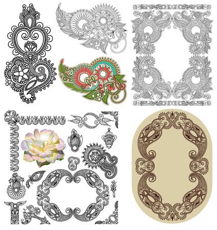 illustration line art:  Vector set of calligraphic design vintage frame and flower, black line art ornate flower design, page decoration, antique and baroque style Illustration
