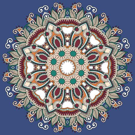 Circle lace ornament, round ornamental geometric doily pattern, mandala design Vector