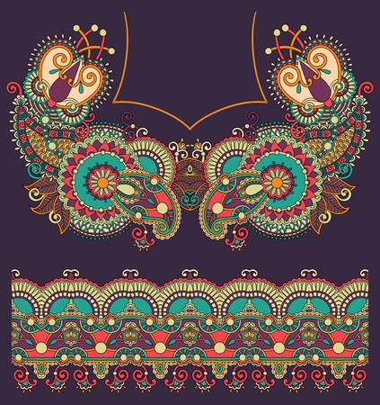kashmir: Neckline ornate floral paisley embroidery fashion design, ukrainian ethnic style. Good design for print clothes or shirt