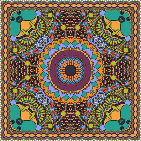 kerchief: Traditional ornamental floral paisley bandanna.  Illustration