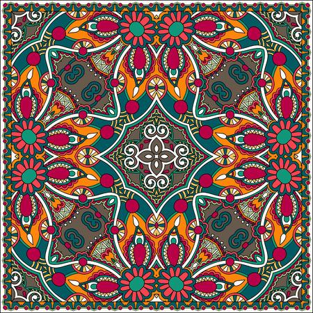 western wear: Traditional ornamental floral paisley bandanna. Illustration