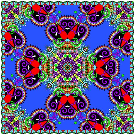 head wear: Traditional ornamental floral paisley bandanna. Illustration