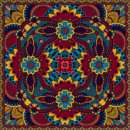 western border: Traditional ornamental floral paisley bandanna. Illustration
