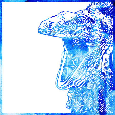 opened mouth: watercolor animal background in a blue color, head of lizard with opened mouth, vector illustration