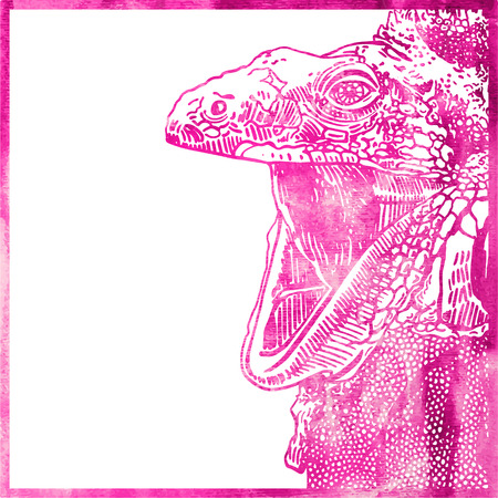 opened mouth: watercolor animal background in pink color, head of lizard with opened mouth, vector illustration Illustration